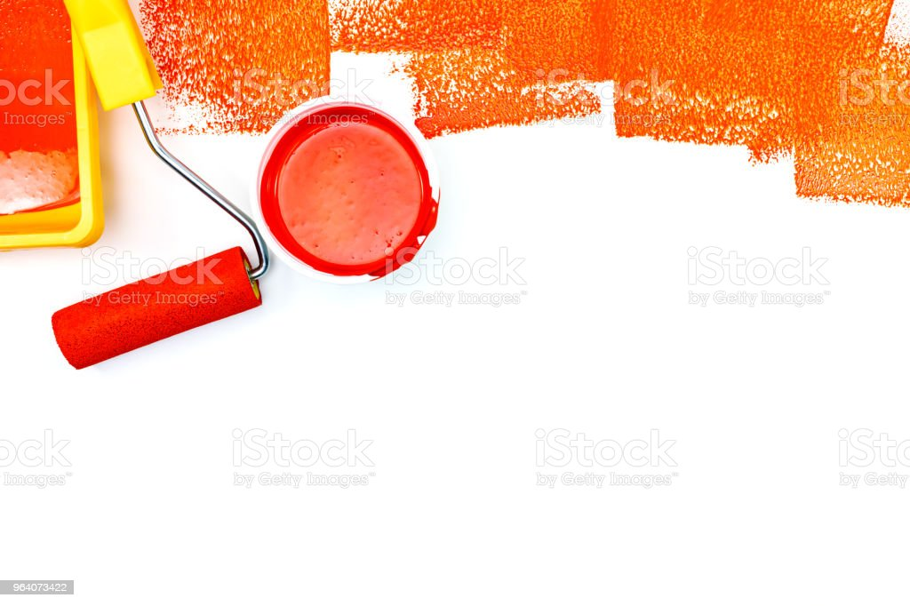paint can, roller and paint tray flat view on white - Royalty-free Apartment Stock Photo