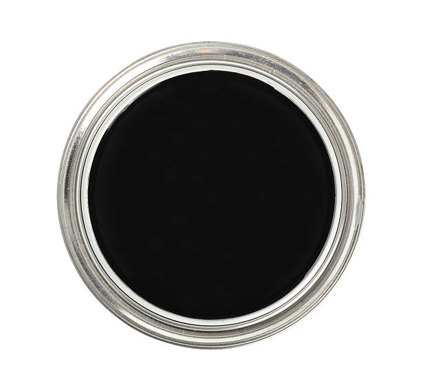 paint can with black color. isolated with clipping path. - zinn farbe stock-fotos und bilder