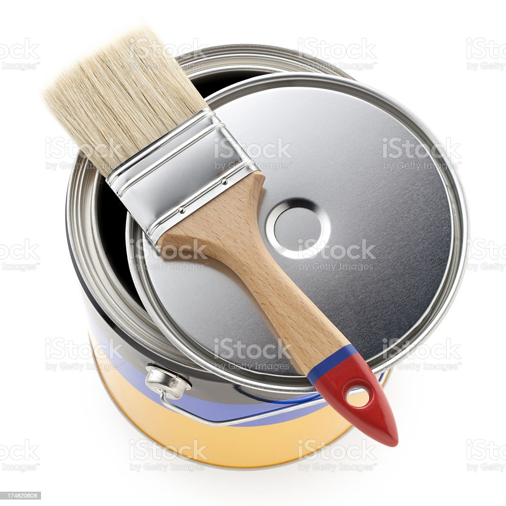 Paint can with brush royalty-free stock photo
