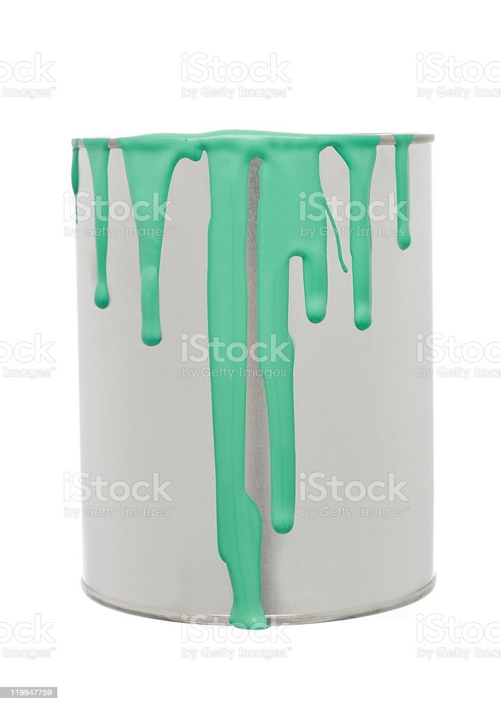 Paint Can with Green spill royalty-free stock photo