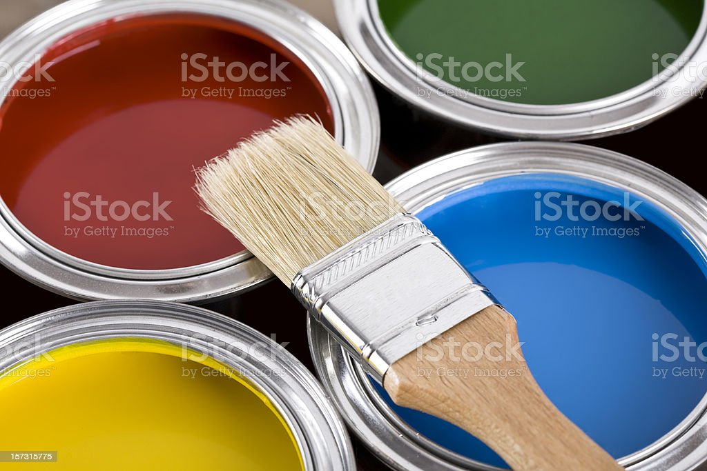 Paint Cans and Brushes stock photo