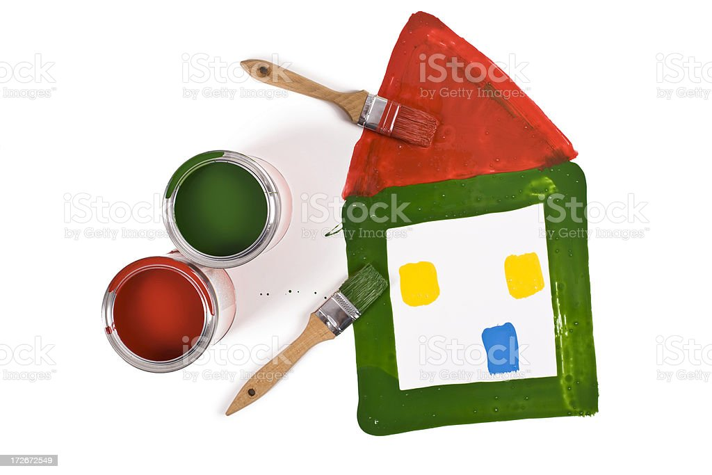 Paint cans and paintbrush royalty-free stock photo