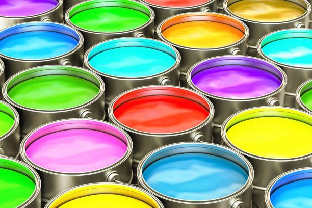 lack dosen closeup hintergrund. 3d-rendering - zinn farbe stock-fotos und bilder