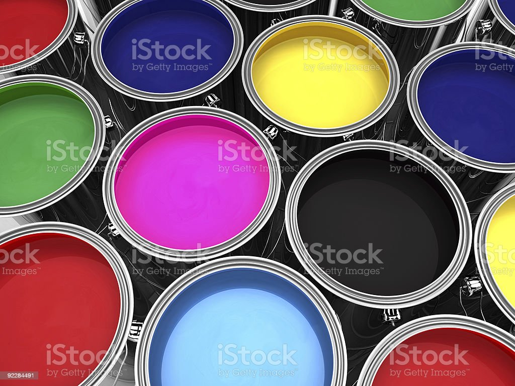 paint cans render royalty-free stock photo