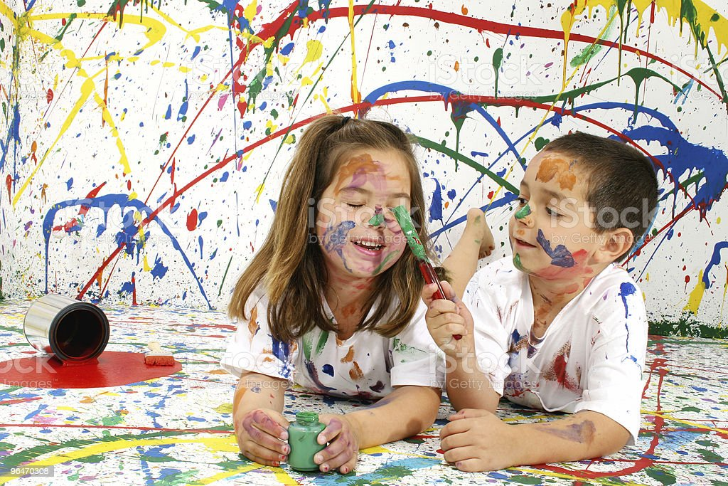 Paint Children royalty-free stock photo