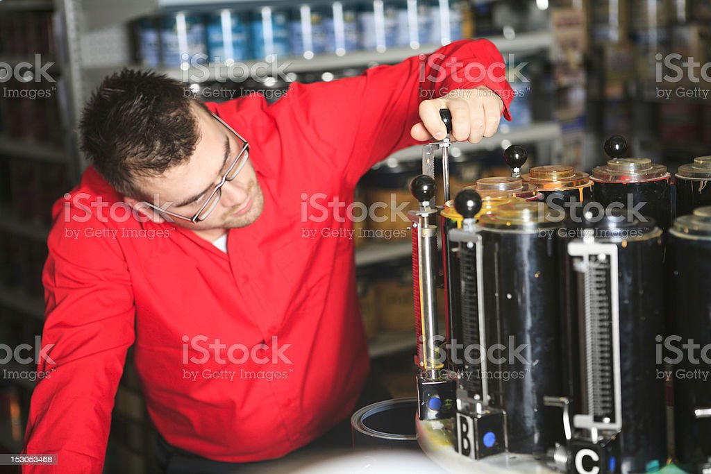 Paint Clerk Machine Hardware Store royalty-free stock photo