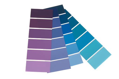 A selection of purple to blue swatch colour samples - white background