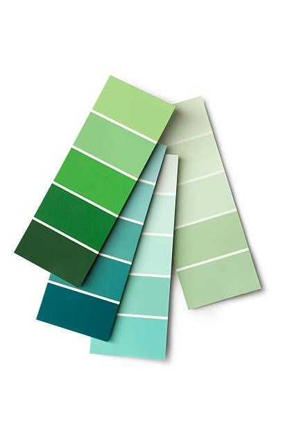 paint: colour samples green - kleurenwaaier stockfoto's en -beelden