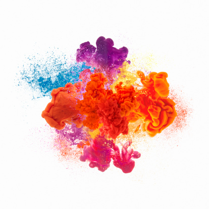 Paint explosion on white background
