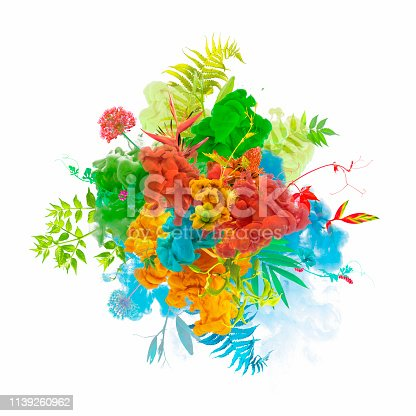 istock Paint explosion with plants and flowers 1139260962