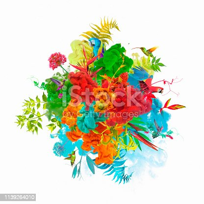 istock Paint explosion with plants, flowers and birds 1139264010
