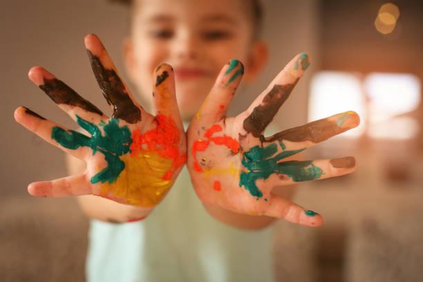 Paint hands. stock photo