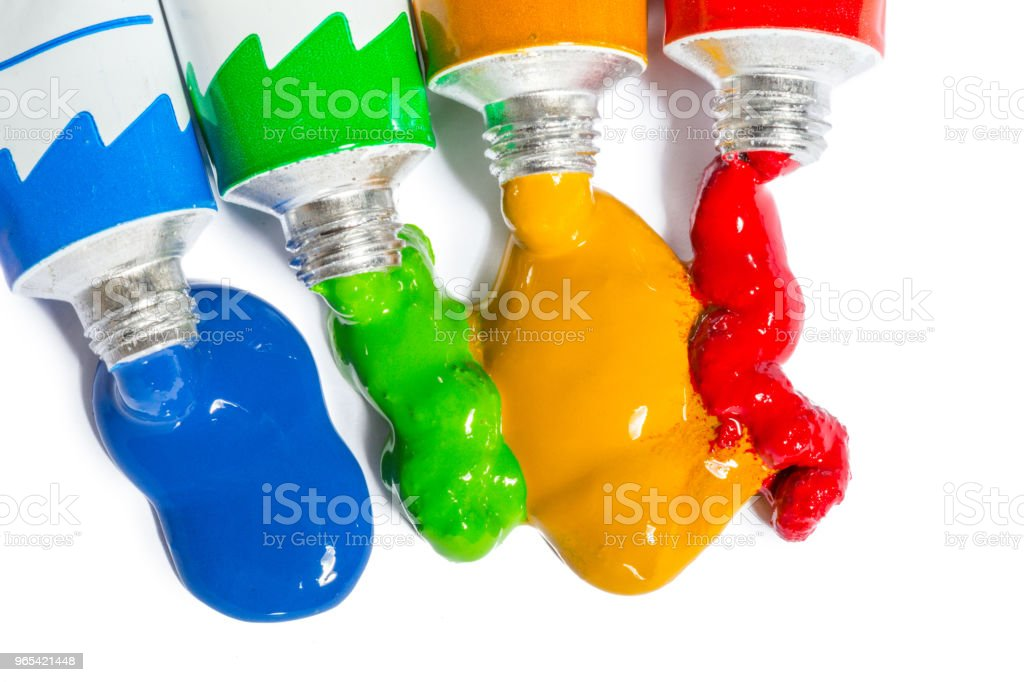 paint in tubes isolated on white royalty-free stock photo