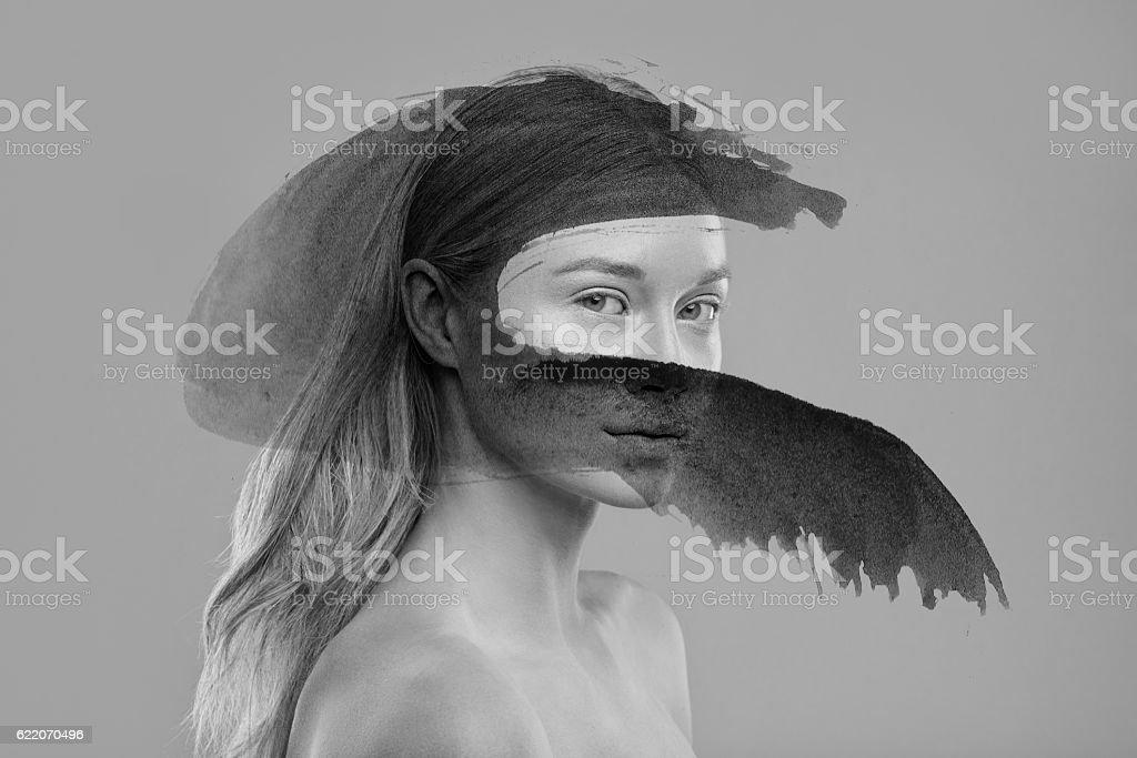 Pintura, negro - foto de stock