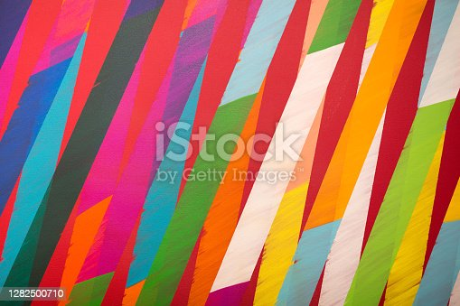 istock Paint on Canvas: Coloured Sections with Bright Shades 1282500710