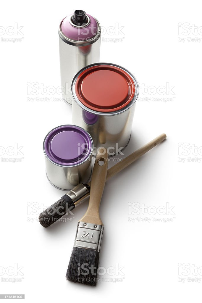 Paint: Paint, Paintbrush and Spray Can Isolated on White Background stock photo
