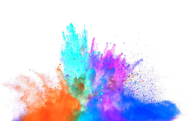 paint - abstract multicolored powder explosion stock photos and pictures