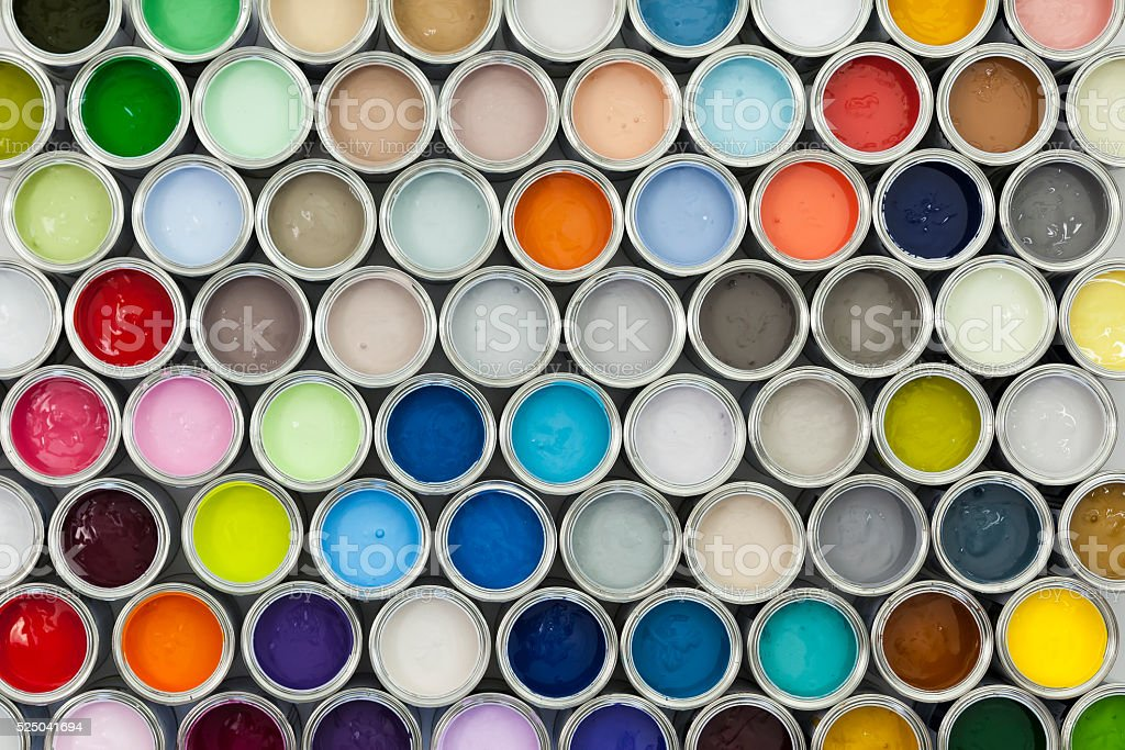 Paint pot samples stock photo