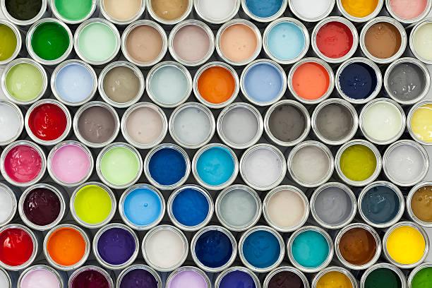 paint pot samples - kleurenwaaier stockfoto's en -beelden