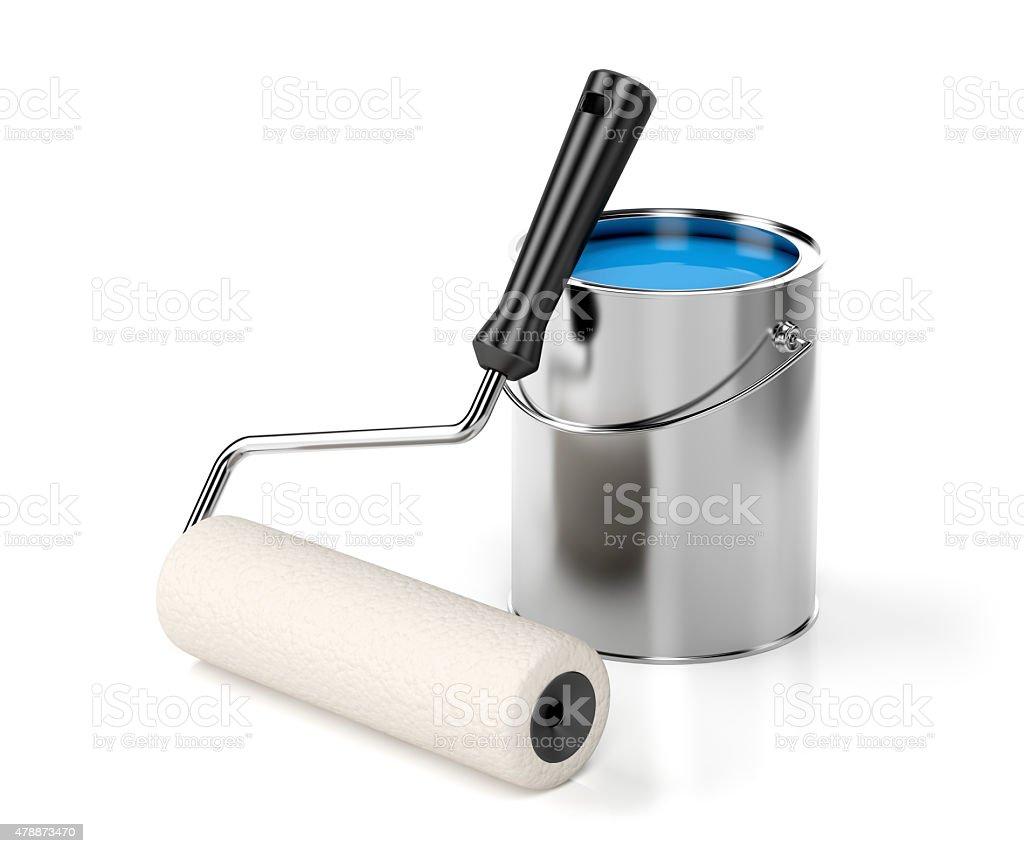 Rolo para Pintar e tinta azul - foto de acervo
