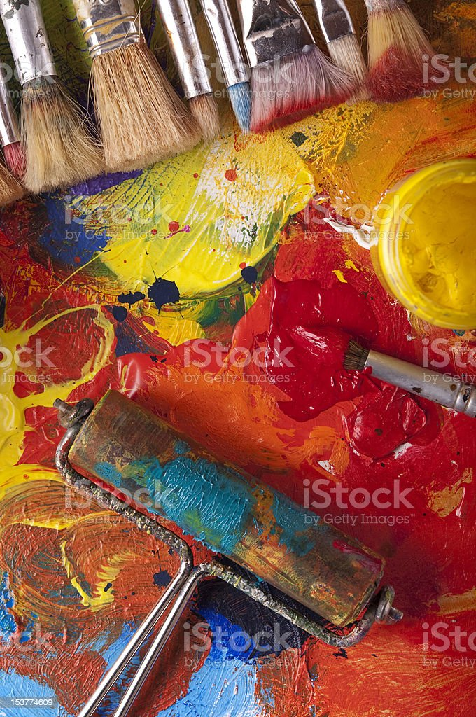 Paint roller and brushes royalty-free stock photo