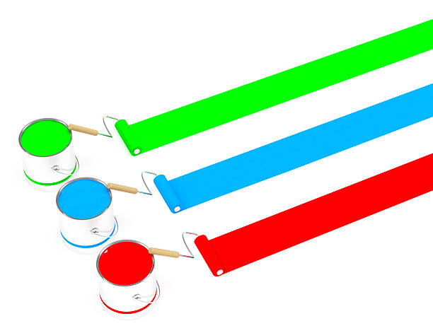 3D 3 Paint roller  and can (Greeb, Blue & Red) stock photo