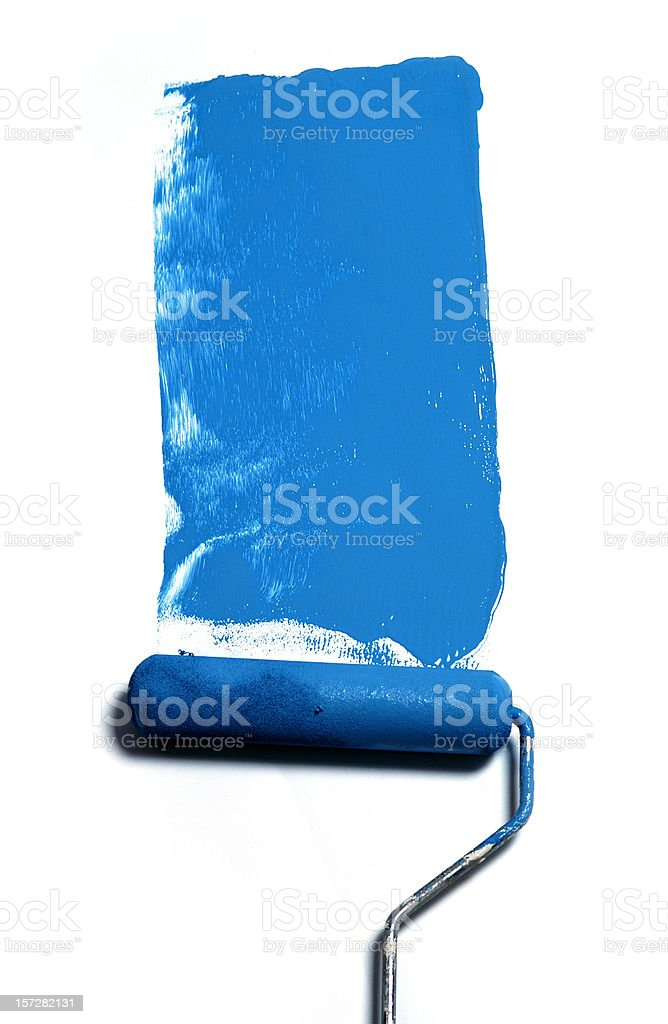 paint roller blue royalty-free stock photo