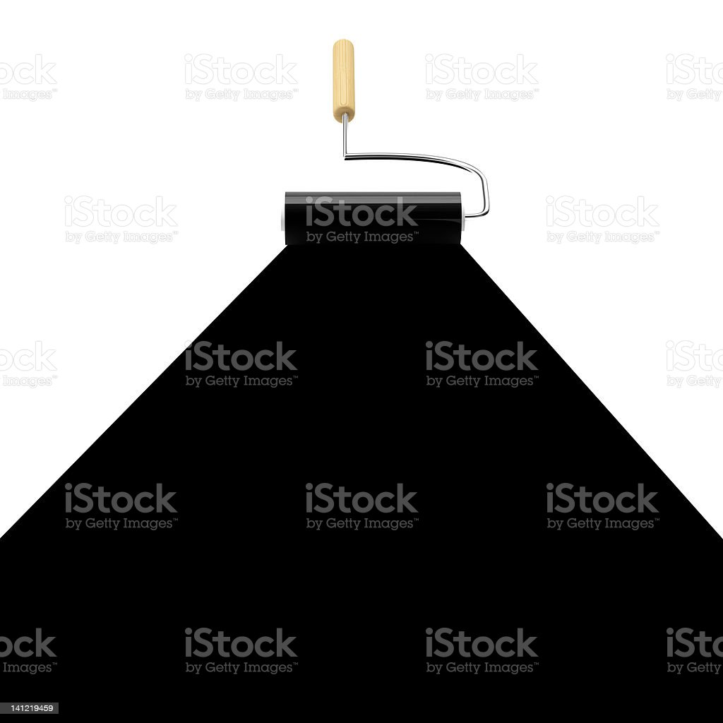3D Paint Roller painting in Black royalty-free stock photo