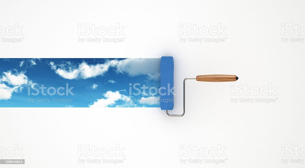 Paint Roller which Draws The Sky royalty-free stock photo