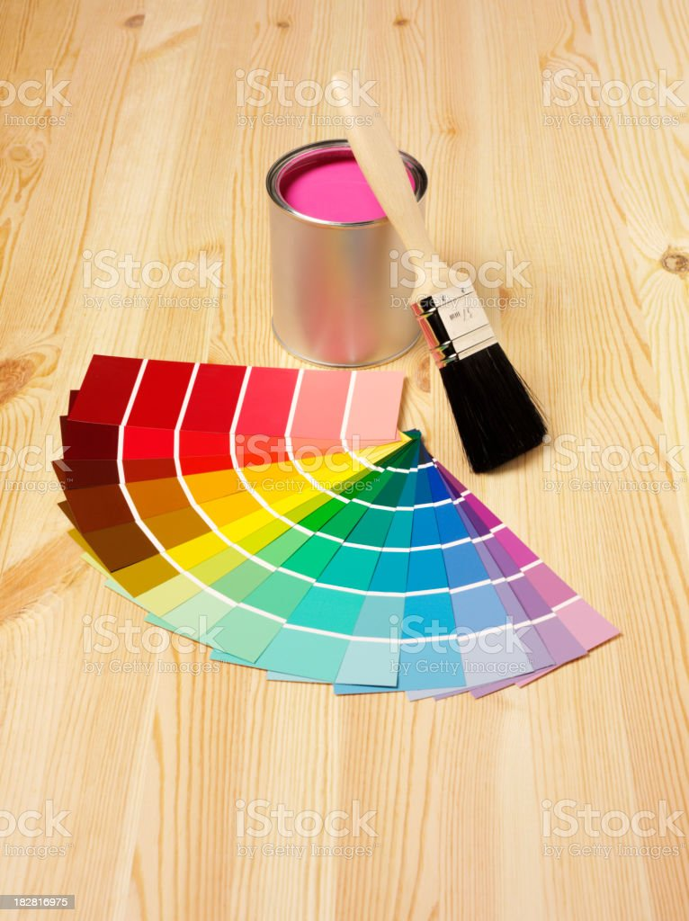 Paint Samples and Brush royalty-free stock photo