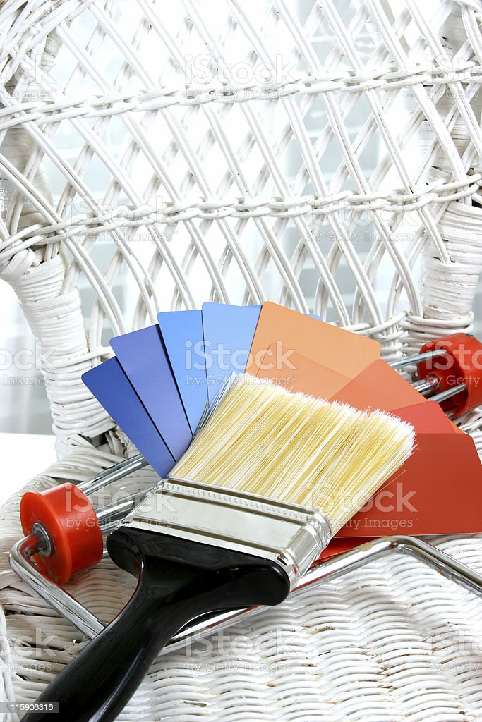 Paint samples, chips with brush, roller. DIY, home improvement project. royalty-free stock photo