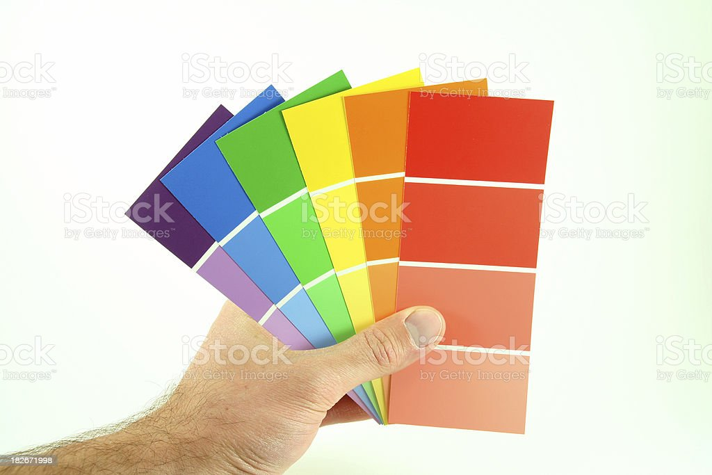 Paint Samples in Hand royalty-free stock photo