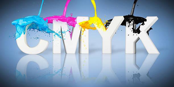 CMYK paint splash letters CMYK paint splash on letters on blue background cmyk stock pictures, royalty-free photos & images