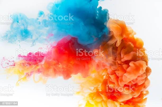 Photo of Paint splash on a white background.