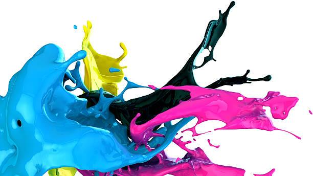 paint splash cmyk concept cmyk stock pictures, royalty-free photos & images