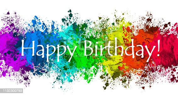 istock Paint Splatter - Happy Birthday 1132300793