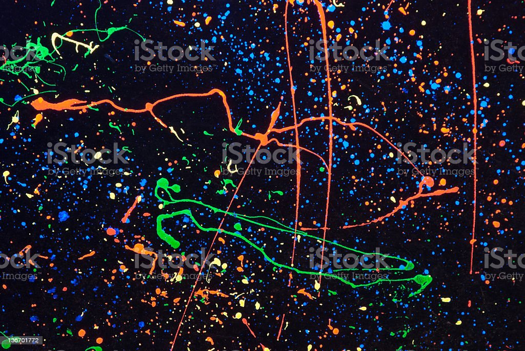Paint Splatters Background on Black, Abstract stock photo