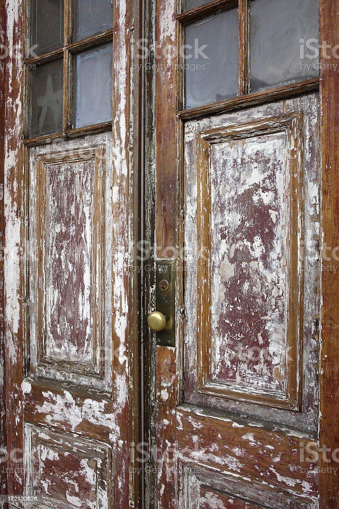 paint stripped door stock photo