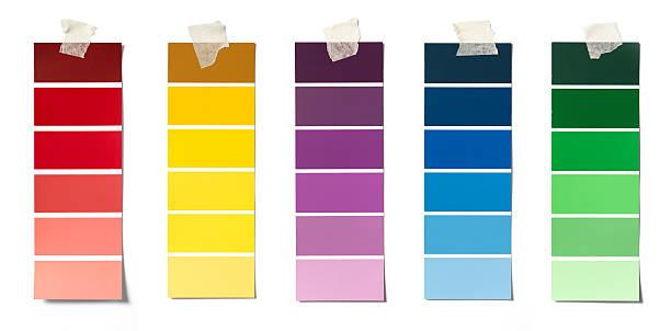 paint swatches - kleurenwaaier stockfoto's en -beelden