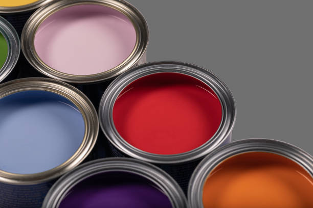 Paint Tin Colors Decorate stock photo