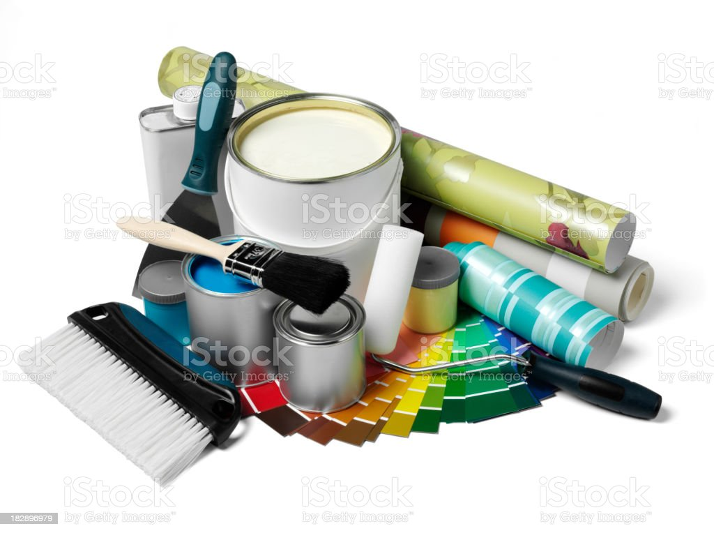 Paint Tins and Wallpaper royalty-free stock photo