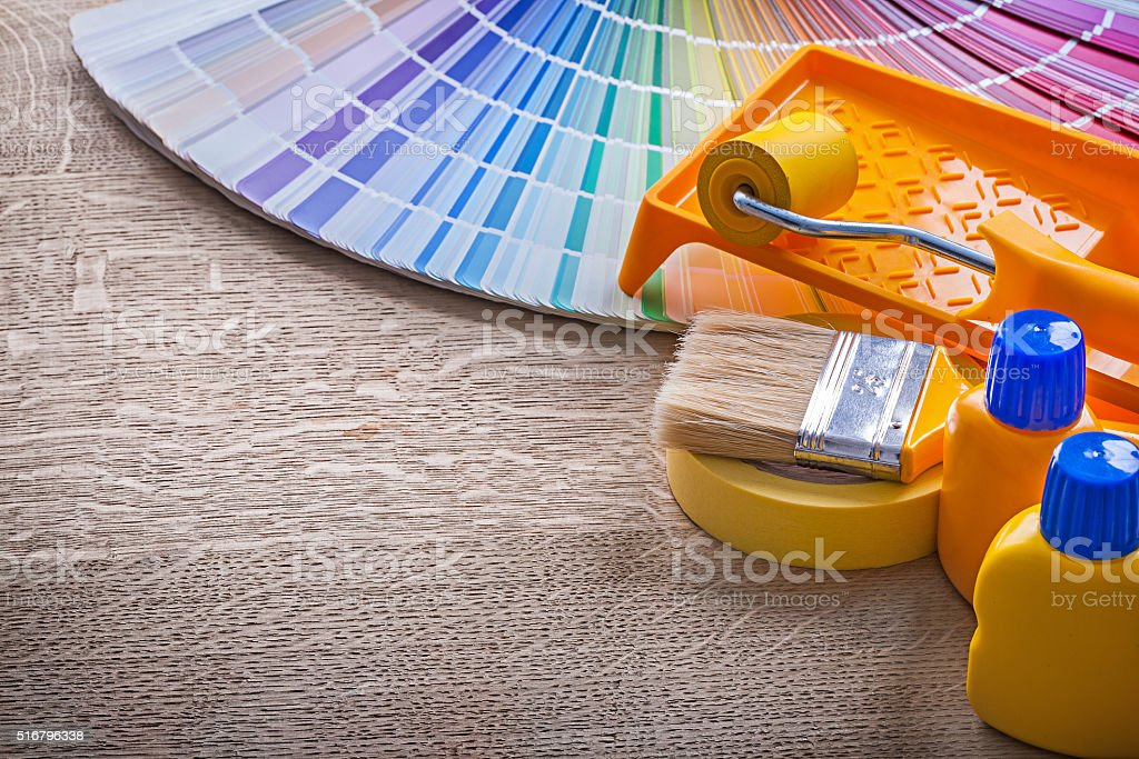 paint tools on board stock photo