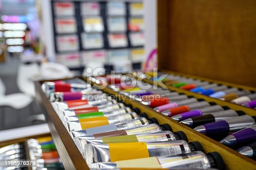 Paint tubes on display in store, Nikon Z7