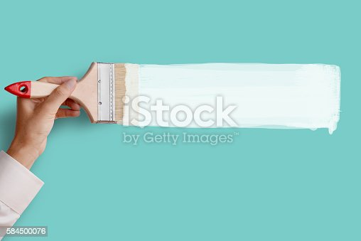 istock Paint white color on pink wall 584500076