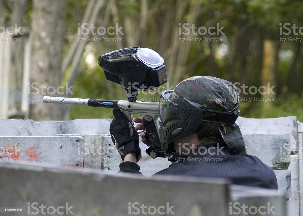 Paintball action stock photo