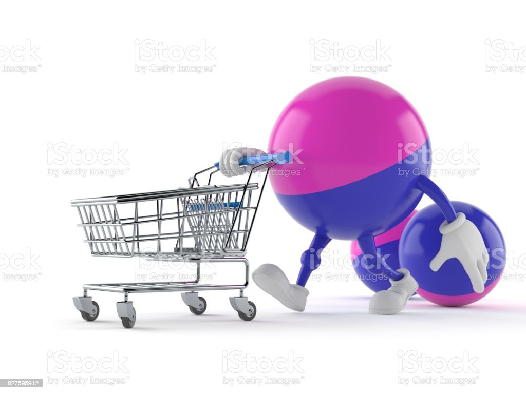 Paintball character with shopping cart stock photo