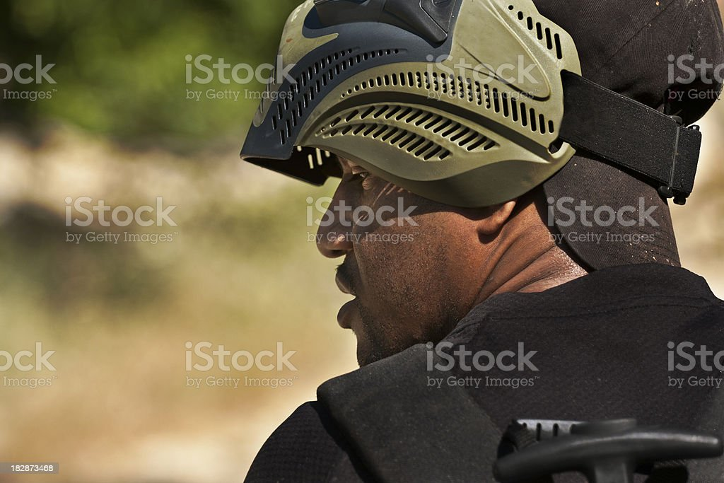 paintball fighter stock photo