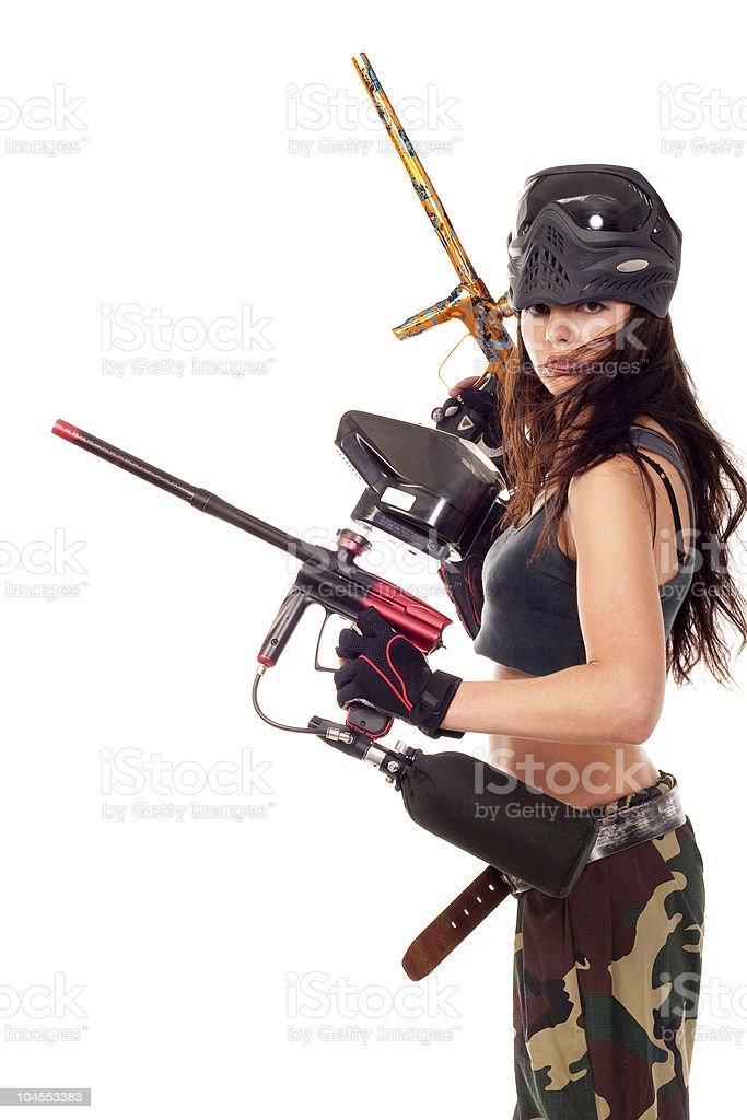 Paintball girl stock photo