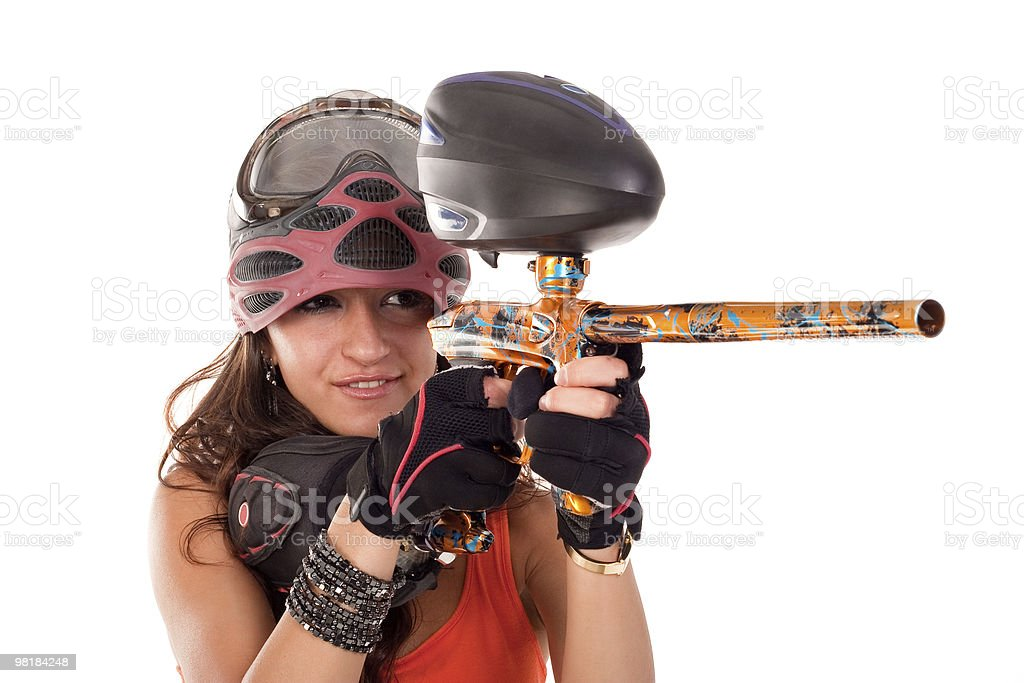 Paintball girl royalty-free stock photo