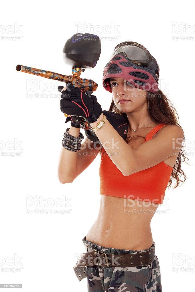 Paintball girl royalty-free stock photo